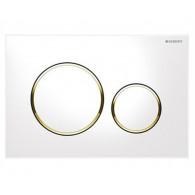 Кнопка слива инсталляций Geberit Sigma 20 115.882.KK.1 белая с золотом
